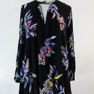 Free People black floral dress size small